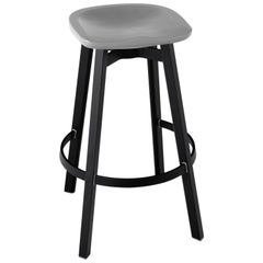 Emeco Su Barstool in Black Aluminum with Flint Seat by Nendo