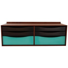 Wall Hanging Cabinet in Walnut and Lacquered Metal