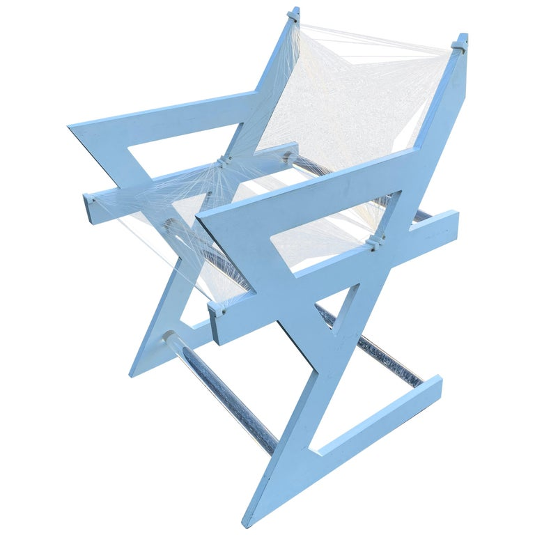 American One of a Kind Mid-Century Modern Fish-String White Painted Desk Chair For Sale