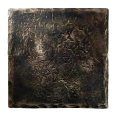Forge Blackened Steel Square Coaster with Brass Highlights