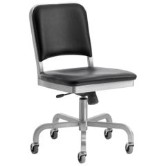 Emeco Navy Swivel Chair in Brushed Aluminum and Black Upholstery by US Navy