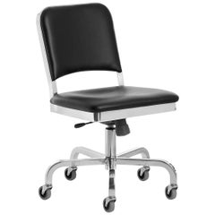 Emeco Navy Swivel Chair in Polished Aluminum and Black Upholstery by US Navy