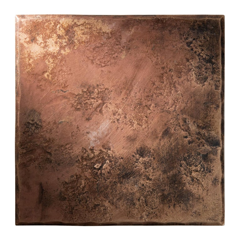 Bronze Square Coaster with Hammered and Forged Surface For Sale