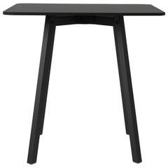Emeco Su Small Cafe Table in Black Aluminum with Black Laminate Top by Nendo