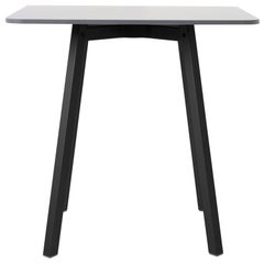 Emeco Su Small Cafe Table in Black Aluminum with White Laminate top by Nendo