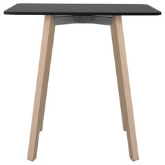 Emeco Su Small Cafe Table in Wood with Black Laminate Top by Nendo