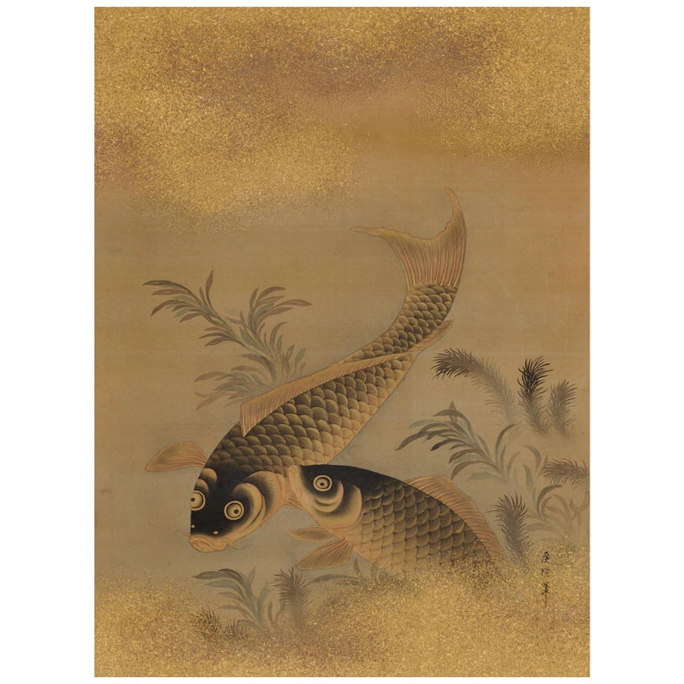 Japanese Painting, Hanging Scroll, Mid 19th Century, Koi and Water Plants For Sale
