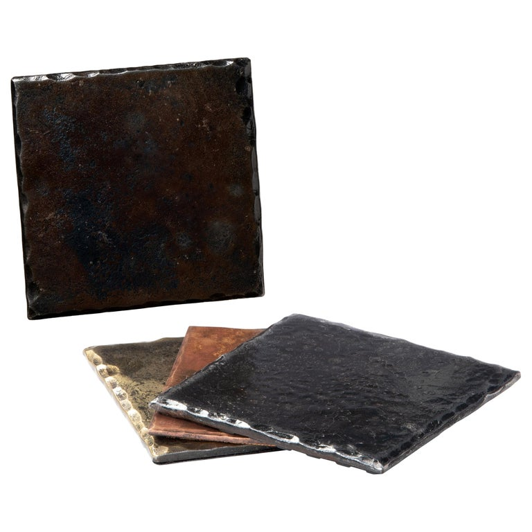 Steel Square Coaster with Blackened Hammered and Forged Surface For Sale