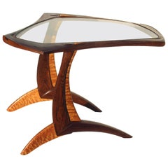 Exotic Wood American Studio or Craftsman Side Table with Fine Joinery
