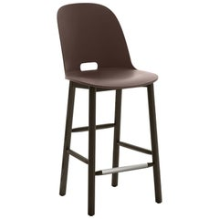 Emeco Alfi Counter Stool in Brown and Dark Ash with High Back by Jasper Morrison
