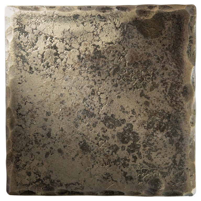 Forged Steel Square Coaster with Brass Coating and Gold Tone For Sale