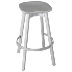 Emeco Su Barstool in Natural Aluminum with Flint Seat by Nendo