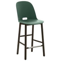 Emeco Alfi Counter Stool in Green & Dark Ash w/ High Back by Jasper Morrison