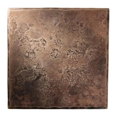 Forged Bronze Square Coaster with Hammered and Polished Finish