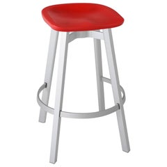 Emeco Su Barstool in Natural Aluminum w/ Flint Seat by Nendo