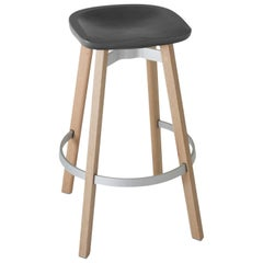 Emeco Su Barstool in Wood w/ Charcoal Seat by Nendo