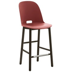 Emeco Alfi Counter Stool in Red & Dark Ash with High Back by Jasper Morrison