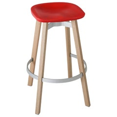 Emeco Su Barstool in Wood with Red Seat by Nendo