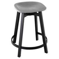 Emeco Su Counter Stool in Black Aluminum with Flint Seat by Nendo