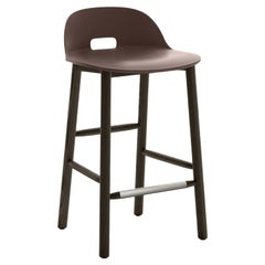 Emeco Alfi Counter Stool in Brown and Dark Ash with Low Back by Jasper Morrison