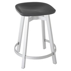Emeco Su Counter Stool in Natural Aluminum with Charcoal Seat by Nendo
