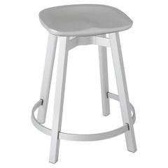 Emeco Su Counter Stool in Natural Aluminum w/ Flint Seat by Nendo