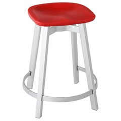 Emeco Su Counter Stool in Natural Aluminum with Red Seat by Nendo