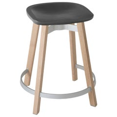 Emeco Su Counter Stool in Wood w/ Charcoal Seat by Nendo