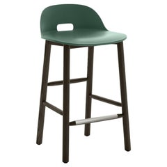 Emeco Alfi Counter Stool in Green & Dark Ash w/ Low Back by Jasper Morrison
