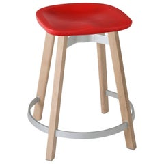 Emeco Su Counter Stool in Wood with Red Seat by Nendo