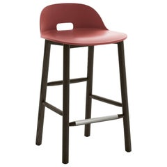 Emeco Alfi Counter Stool in Red and Dark Ash with Low Back by Jasper Morrison