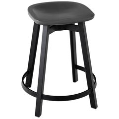 Emeco Su Counter Stool in Black Aluminum w/ Charcoal Seat by Nendo