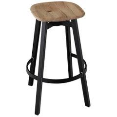 Emeco Su Barstool in Black Aluminum w/ Reclaimed Oak Seat by Nendo