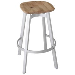 Emeco Su Barstool in Natural Aluminum with Reclaimed Oak Seat by Nendo