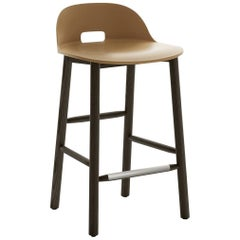 Emeco Alfi Counter Stool in Sand & Dark Ash w/ Low Back by Jasper Morrison