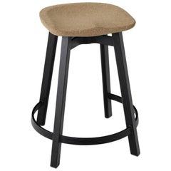 Emeco Su Counter Stool in Black Aluminum w/ Cork Seat by Nendo