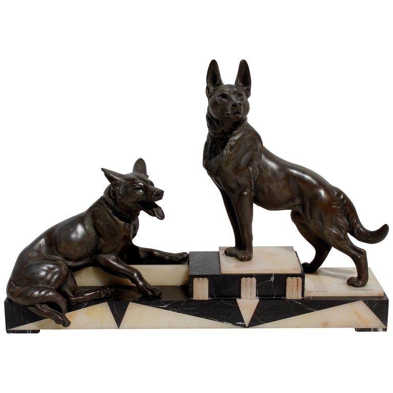 Louis-Albert Carvin Dog Animalier Art Deco Sculpture in Marble and Bronze  For Sale
