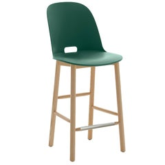 Emeco Alfi Counter Stool in Green & Ash w/ High Back by Jasper Morrison