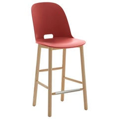 Emeco Alfi Counter Stool in Red & Ash w/ High Back by Jasper Morrison