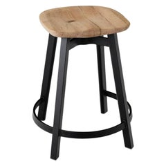 Emeco Su Counter Stool in Black Aluminum with Reclaimed Oak Seat by Nendo
