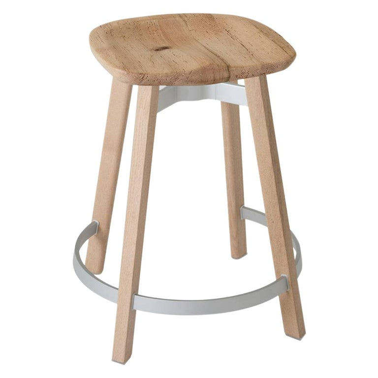 Emeco Su Counter Stool in Wood w/ Reclaimed Oak Seat by Nendo For Sale