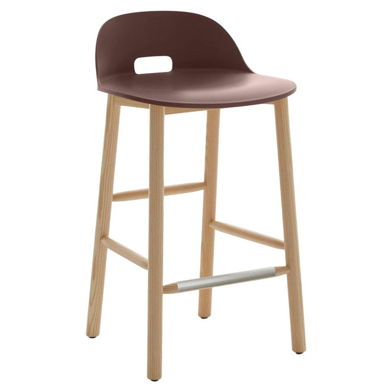 Emeco Alfi Counter Stool in Brown and Dark Ash with Low Back by Jasper Morrison  For Sale