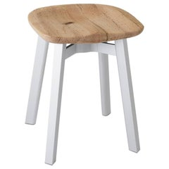 Emeco Su Small Stool in Natural Aluminum w/ Reclaimed Oak Seat by Nendo