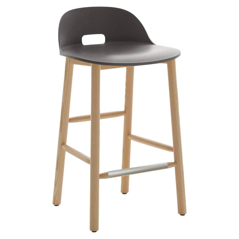 Emeco Alfi Counter Stool in Gray and Ash with Low Back by Jasper Morrison For Sale