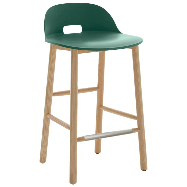 Emeco Alfi Counter Stool in Green & Ash w/ Low Back by Jasper Morrison  For Sale