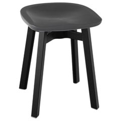 Emeco Su Small Stool in Black Aluminum with Charcoal Seat by Nendo
