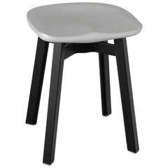 Emeco Su Small Stool in Black Aluminum w/ Flint Seat by Nendo