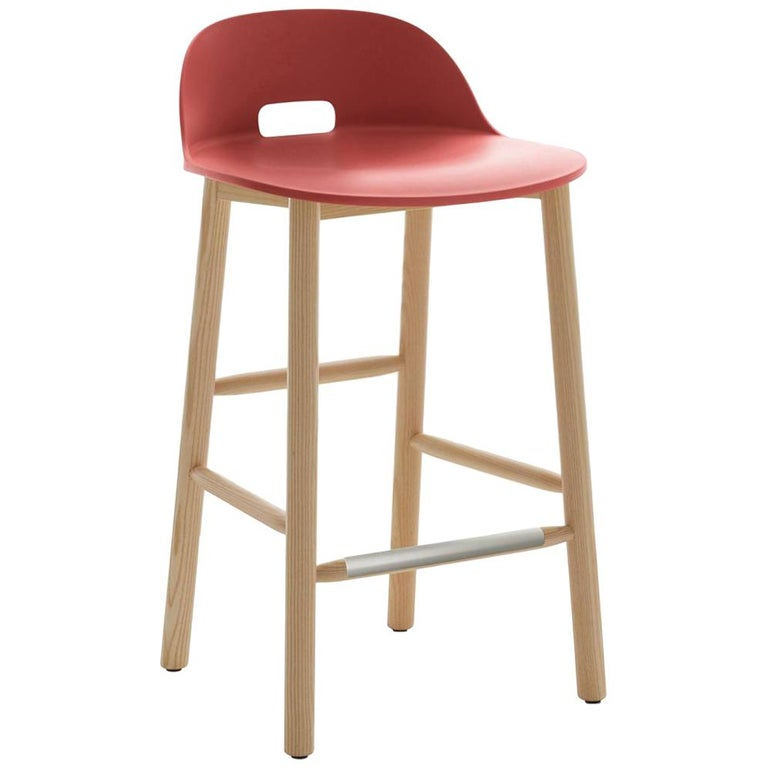 Emeco Alfi Counter Stool in Red & Ash with Low Back by Jasper Morrison For Sale