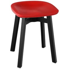 Emeco Su Small Stool in Black Aluminum with Red Seat by Nendo
