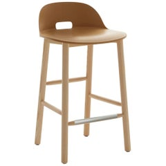 Emeco Alfi Counter Stool in Sand and Ash with Low Back by Jasper Morrison